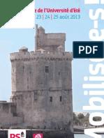 Programme des Universités d'été du PS et du MJS à La Rochelle - 23 | 24 | 25 août 2013