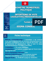Baromètre politique SIGMA TUNISIE Août 2013