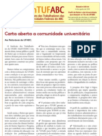Boletim SinTUFABC 05 (14 de agosto de 2013) Carta Reitoria