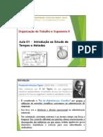 OTE II _ Aula 01 _ Introdução ao Estudo de Tempos e Métodos