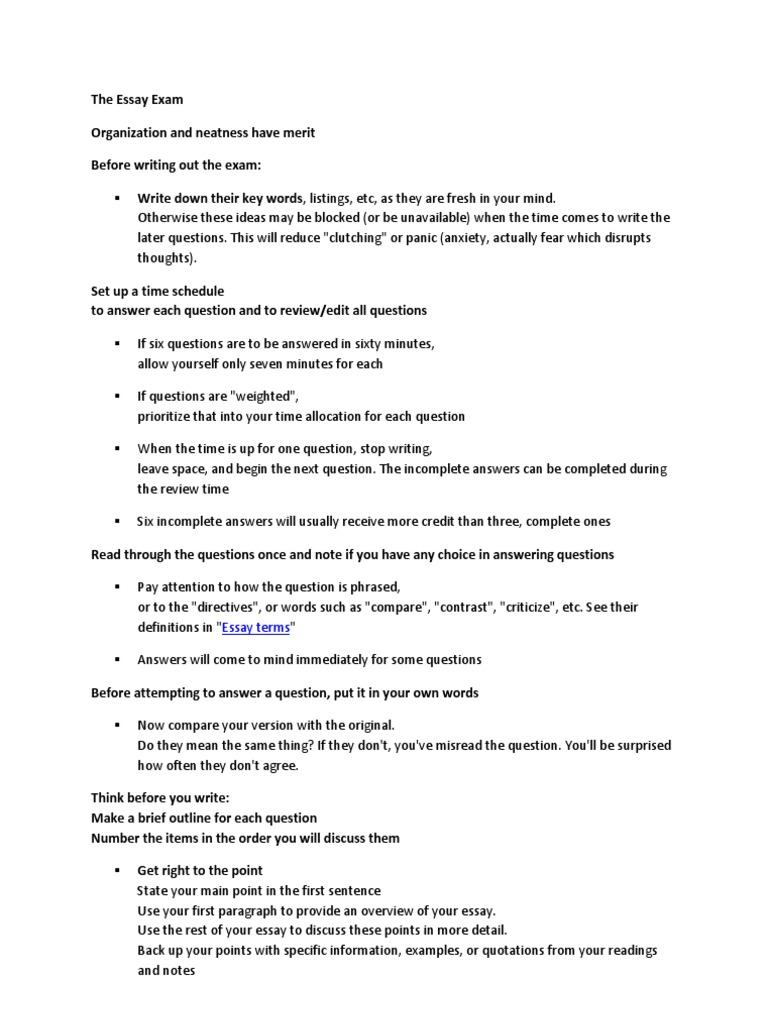 essay terms directives