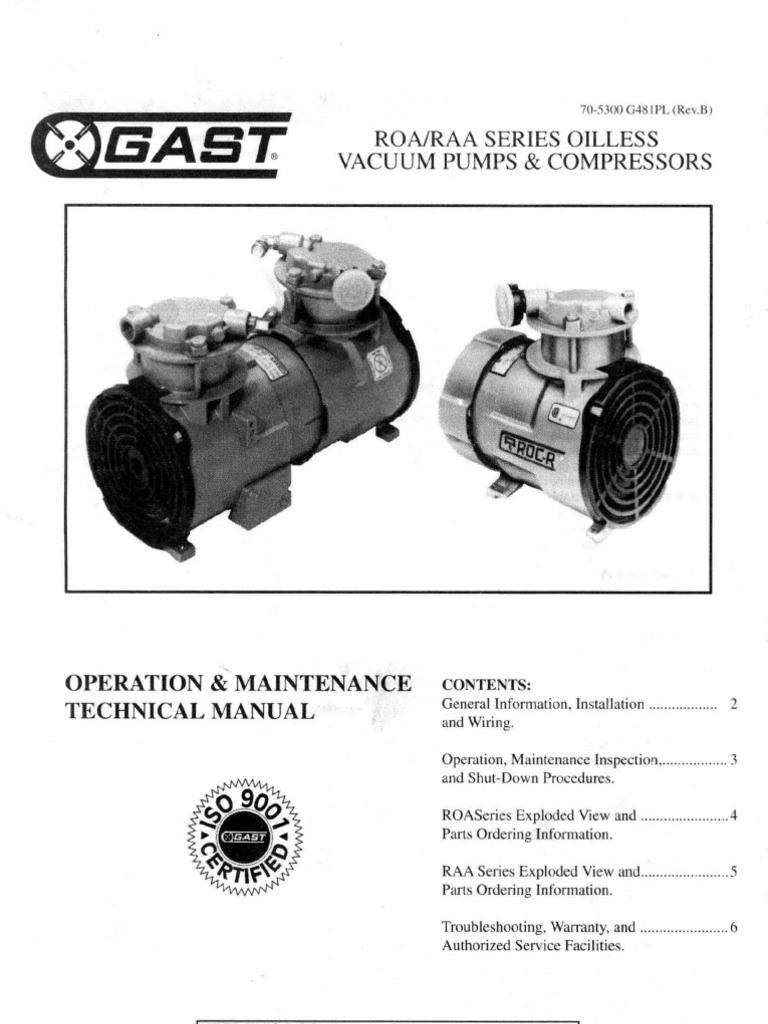 Gast Oilless Pump Wire Diagram Worksheet And Wiring 86r Compressor Roa Raa Series Vacuum Fuse Electrical Rh Es Scribd Com Gas
