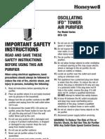 Honeywell HFD-120-Q Tower Quiet Air Purifier Manual