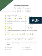 Solving Quadratic Equations Exercises2