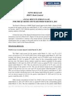 Press Release Finanacial Results Mar13