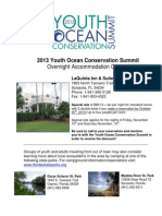 2013 Youth Ocean Conservation Summit Accommodation Options