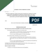 Community groups notice of civil claim (Aug 20, 2013)
