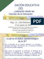 INVESTIGACION EDUCATIVA Conceptualizacion Desde Las Ciencias de La Educacion
