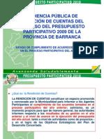 Planificación y Presupuesto |  Audiencia Pública de Rendición de Cuentas del Proceso del Presupuesto Participativo 2009 de la Provincia de Barranca