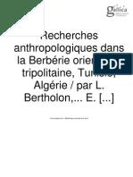 Recherches Anthropologiques Dans La Berberie Orientale