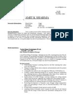 Curriculum Vitae - Amit K Sharma