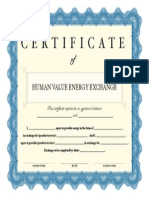Certificate of Human Value Energy Exchange