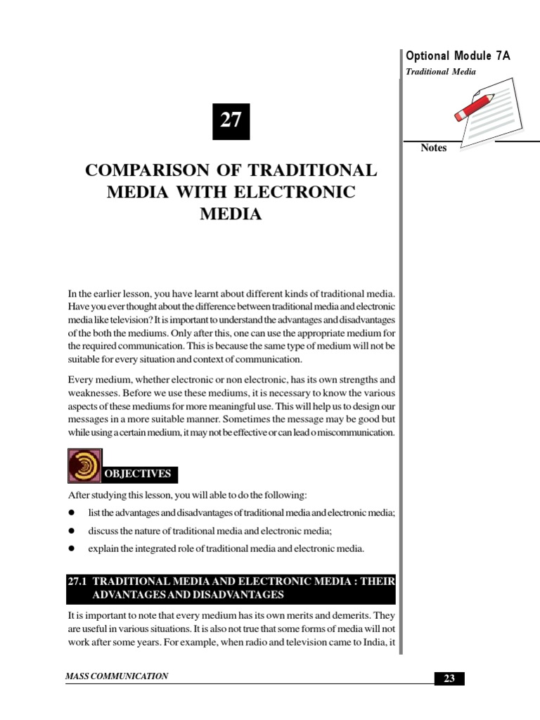 advt  dis-advt  of conventional | Media (Communication
