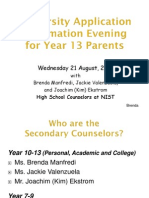 Year 13 Parents Uni App Night 21 August 2013