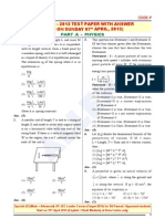 JEE Main Exam 2013 Fully Solved Question Paper PHYSICS With Answer Key