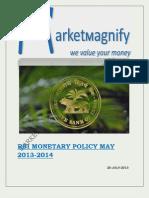 Rbi Monetary Policy May 2013-2014