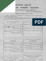 Ballot Specimen PA Republican Primary Election