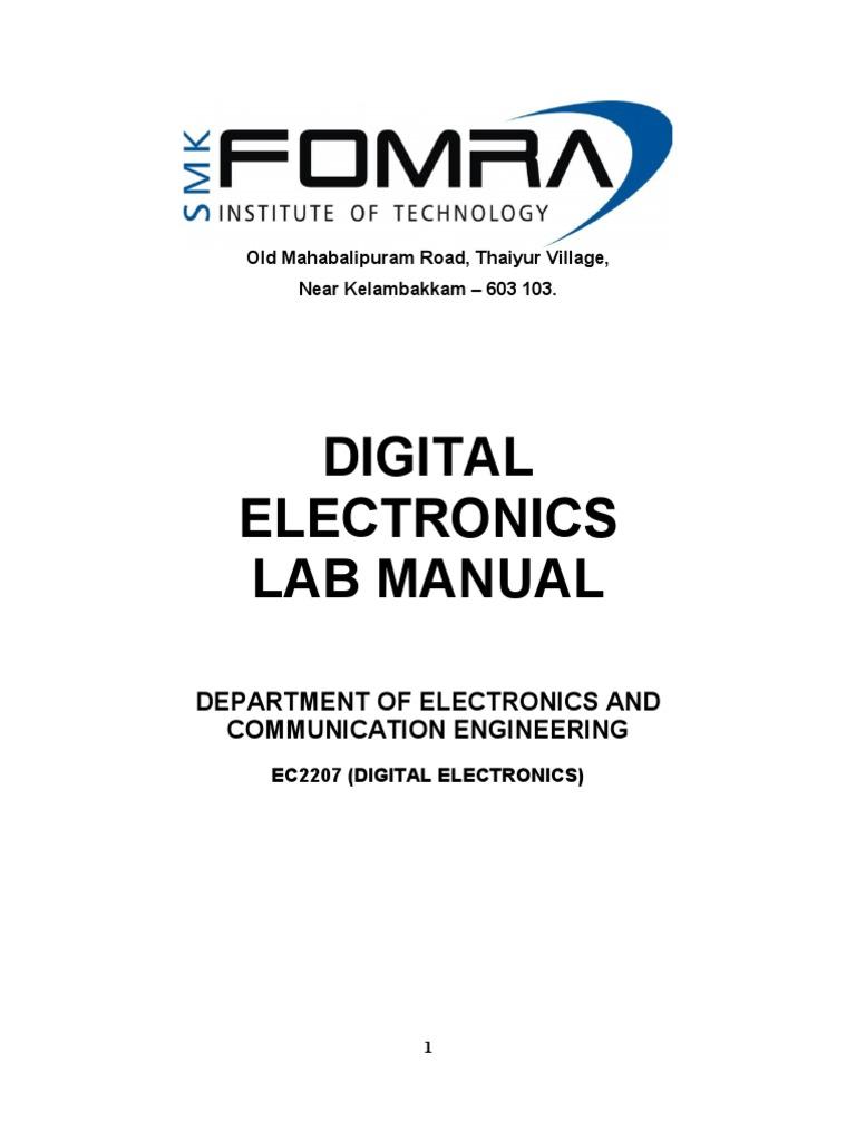 Ece Digital Lab Manual 2207 2011 Arithmetic Electrical Circuits Logic Diagram Full Subtractor