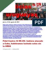 Noticias Uruguayas Jueves 22 de Agosto Del 2013