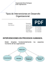 Tipos de Intervenciones en Desarrollo Organizacional