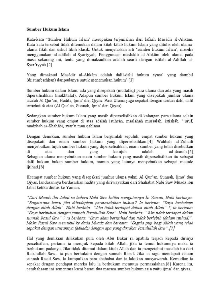 4 Sumber Hukum Islam Yang Disepakati Ulama