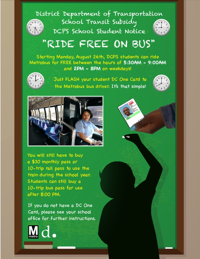 Ddot Student Ride Free On Bus Program Student Notice To Dcps Schools 080913