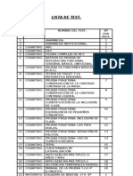 Lista de Test