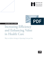 IHI Increasing Efficiency and Enhancing Value in HealthCare White Paper 2009