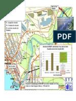 Carte des 3 lieux d' échantillonnages du MDDEFP à Lac-Mégantic