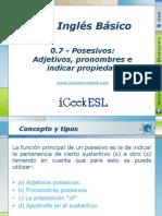 0.7 - Posesivos Adjetivos, Pronombres e Indicar Propiedad