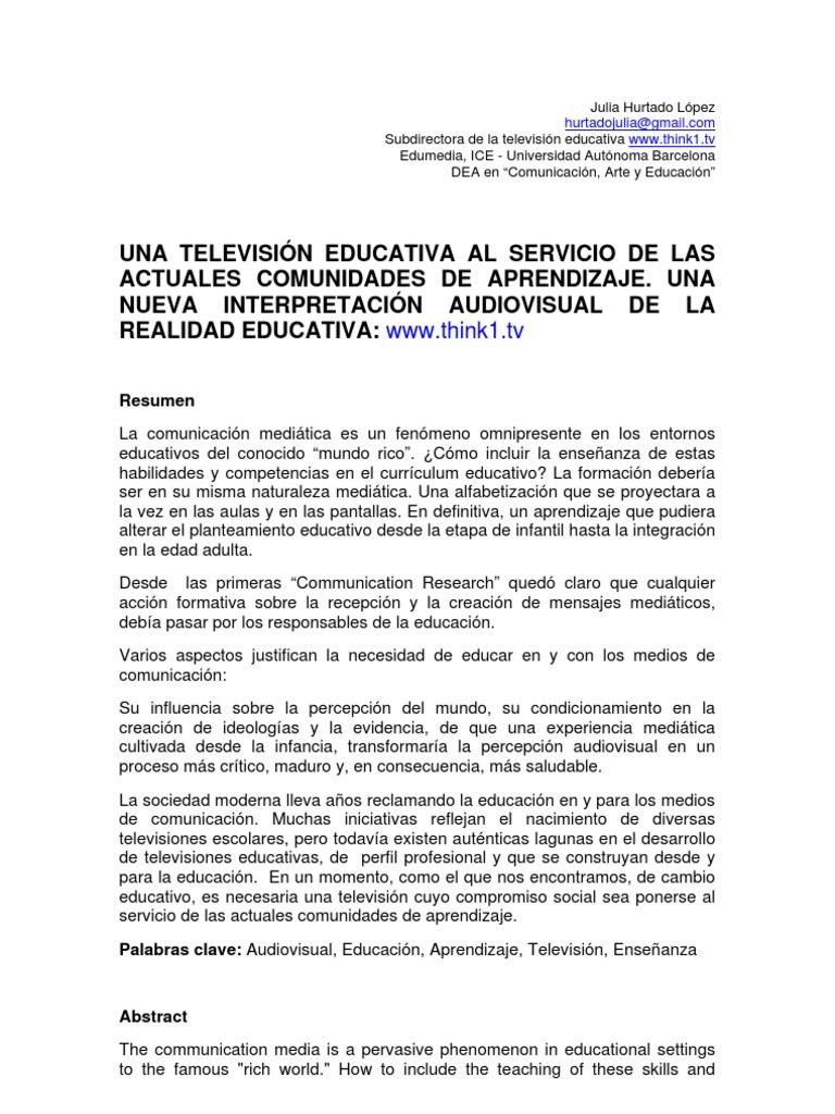 Una televisión educativa al servicio de las actuales comunidades de ...