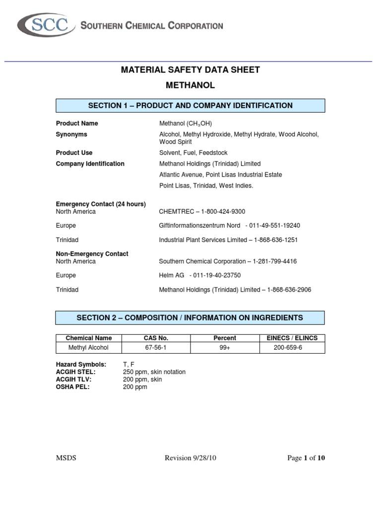 Methanol msdspdf dangerous goods firefighting buycottarizona