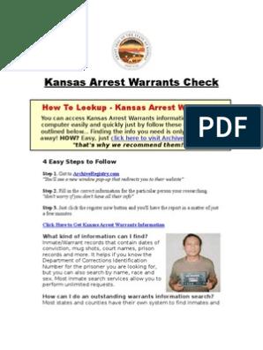 Kansas Arrest Warrants Arrest Warrants Check Prisoner