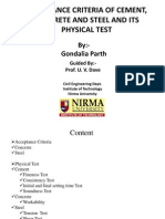 Acceptance Criteria of Cement, Concrete and Steel and Its Physical Test