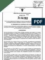 Decreto 1782 Del 20 de Agosto de 2013