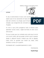 carta de bienvenida a los niños