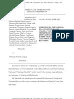 Marshall, Senser, Pastorini Objections to Proposed Dryer vs NFL Films Settlement Offer