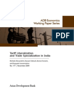 Tariff Liberalization and Trade Specialization in India