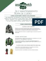 Ropa - Manual Limpieza y Mantenimiento Ropa de Cuero