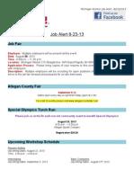 Job Alert - 8-23-2013