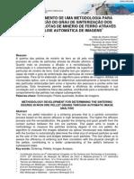DESENVOLVIMENTO DE UMA METODOLOGIA PARA DETERMINAÇÃO DO GRAU DE SINTERIZAÇÃO DOS GRÃOS EM PELOTAS DE MINÉRIO DE FERRO