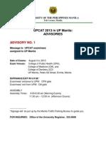 UPCAT 2013 in UPM --Advisories
