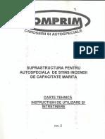 Carte Tehnica -Instructiuni e Utilizare Si Intretinere