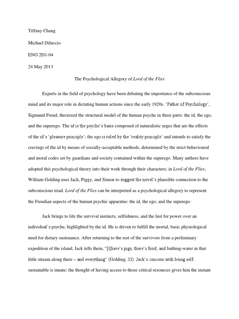 Synthesis Essay Ideas The Psychological Allegory Of Lord Of The Flies  Id  Metaphysics Of Mind Short English Essays For Students also Example Essay Thesis Statement The Psychological Allegory Of Lord Of The Flies  Id  Metaphysics  Business Ethics Essay Topics