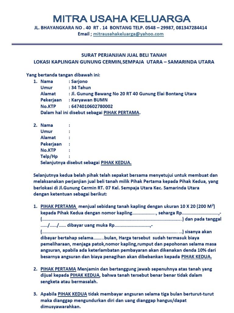 Surat Perjanjian Kredit Bontang 10x20