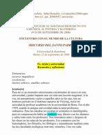Benedicto XVI - 2006 - Fe, razón y universidad. Recuerdos y reflexiones