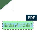 Belief & Disbelief Part 2-5 Burden of Disbelief