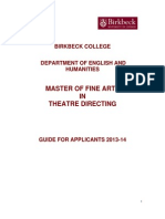 MFA Theatre Directing Guide for Applicants 2013-14