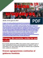 Noticias Uruguayas sábado 24 de agosto del 2013