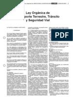 Ley Orgánica Transporte Terrestre Tránsito y Seguridad Vial Ecuador